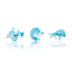 Splashing waves and water third set icons vector
