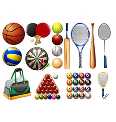 Sports equipment and balls vector
