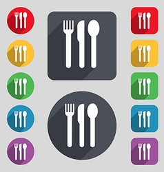 Fork knife spoon icon sign a set of 12 colored vector