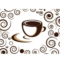 Cup of coffee or tea with floral design elements vector