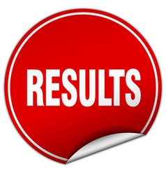 Results round red sticker isolated on white vector