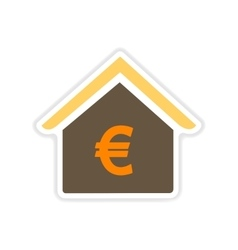 paper sticker on white background bank building vector image