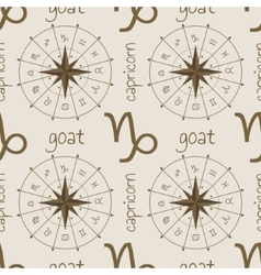 Astrology sign goat seamless pattern vector