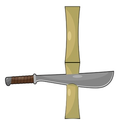 Bamboo and machetes vector image vector image