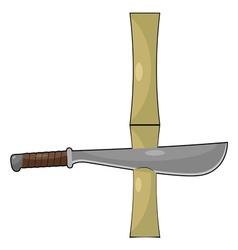 Bamboo and machetes vector image