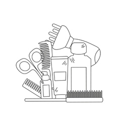 Beauty background with barber shop tools vector image vector image