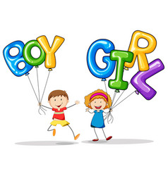 boy and girl holding balloons vector image vector image