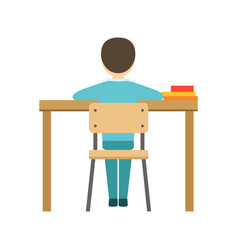 Boy sitting at his desk in classroom part of vector