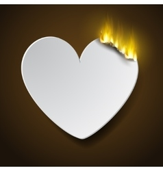 Burning paperc heart vector