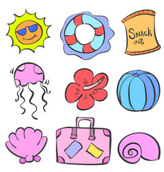 Collection of element summer doodles vector