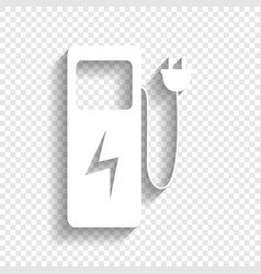 Electric car charging station sign white vector