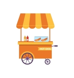 Flat Icon Cart of Hot Dog Isolated on White vector image vector image