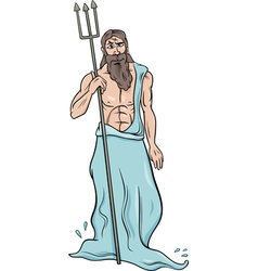 greek god poseidon cartoon vector image