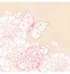 greeting card with peony and butterfly in vintage vector image vector image