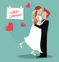 Just married couple lovely vector
