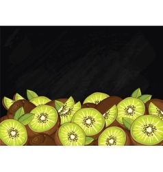 Kiwi fruit composition on chalkboard vector