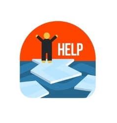 Man on ice floe crying for help vector