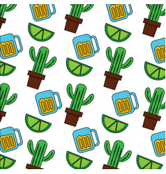 mexican pot cactus drink and lime seamless pattern vector image
