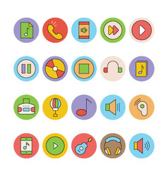 Music Colored Icons 5 vector image