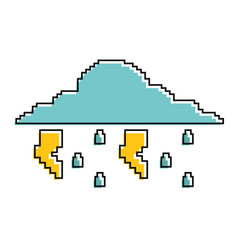 Pixelated cloud rain thunderbolt storm weather vector