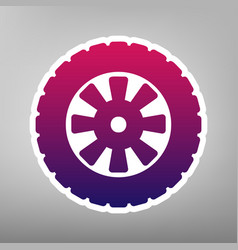 Road tire sign purple gradient icon on vector