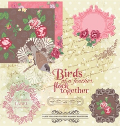 Scrapbook Design Elements - Vintage Flowers and Bi vector image vector image