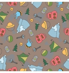 seamless pattern of Camping Elements vector image vector image