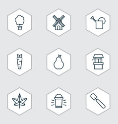 Set of 9 agriculture icons includes hang lamp vector