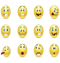 Set of smiles crazy vector image vector image