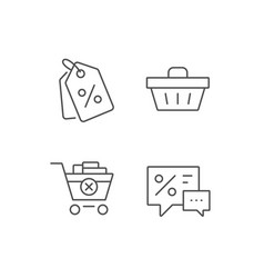 Shopping cart discount coupons and sale icons vector