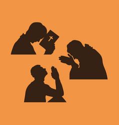 silhouette of a praying man vector image vector image