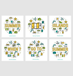 summer round banners - trip and vacation concepts vector image vector image
