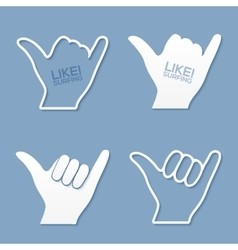 surfers shaka hand sign in flat paper style vector image