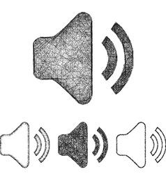 Volume icon set - sketch line art vector