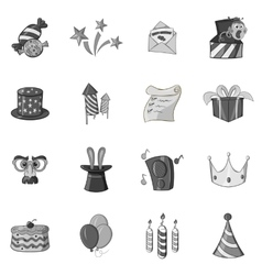 Celebration icons set black monochrome style vector