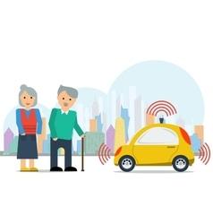Autonomous car for elderly couple vector