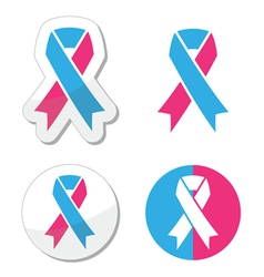 Pink and blue ribbon - pregnancy and infant loss vector image