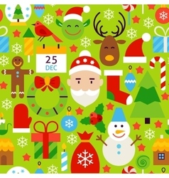 Merry christmas green tile pattern vector