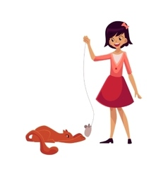 Teenage girl standing and playing with cat using vector