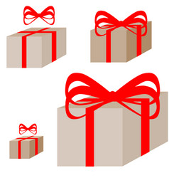 Ligth brown present box with the red ribbon vector