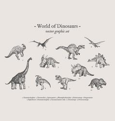 dinosaurs vintage set vector image