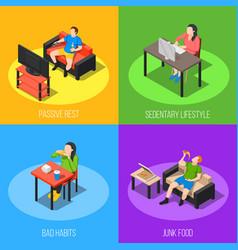 Sedentary lifestyle design concept vector
