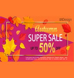 Bright geometric golden autumn super sale banner vector