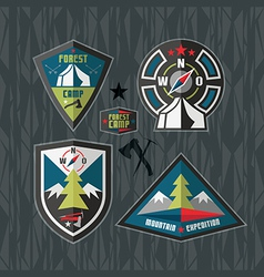 Camping and hiking badges vector