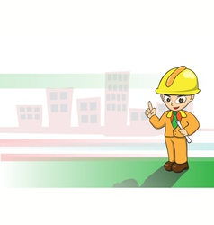 Engineers cartoon on building background vector image