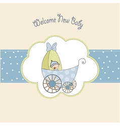 Baby boy shower card with stroller vector
