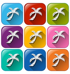 Buttons with coconut trees vector