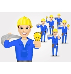 Technical electrician or mechanic in poses vector
