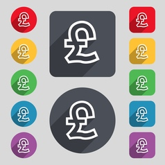 Pound sterling icon sign a set of 12 colored vector