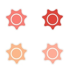 Assembly realistic sticker design on paper sun vector